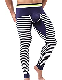Hunpta Mens Striped Breathe Patchwork Low Rise Leggings Long Johns Thermal Pant