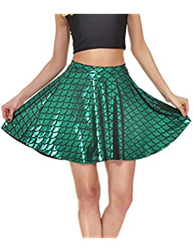 Mxssi Fish Scales Skirts Women Party Cute Mermaid Mini falda skater acampanada
