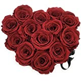 ETERNAL ROSES, konservierte Rosen, Blumengeschenk Herzform Red