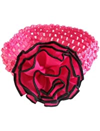 NeedyBee Fuchsia Pink Flower Knitted (Stretch) Headband/Hair Accessories for Infant Girls(Kids Hair Accessories)