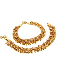 Yellow Chimes Exquisite Studded Traditional Kundan Stones Gold Plated Payals Anklets for Women and Girls
