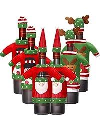 6 Juegos de Funda de Botella de Vino de Navidad Cubierta de Botella de Vino de