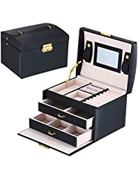 DCCN PU Leather Three-Layer Lint Jewelry Box Organizer Makeup Storage Case with Lock and Mirror