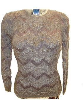 Maniche lunghe delle signore delle donne Zig-Zag modello girocollo Fluffy Fury dell'inverno Top Jumper