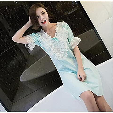 cotone manica corta delle donne Lace up pizzo Pullover Dress pigiama Un formato , blue ,
