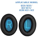 Earpad Cushions Foam Ear Pad Headphone Ear Cups Cover Replacement for Bose Quietcomfort 2/15/ 25, Ae2, Ae2i, Black