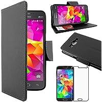 ebestStar - para Samsung Galaxy Grand Prime SM-G530F, Value Edition SM-G531F [Dimensiones PRECISAS de su aparato : 144.8 x 72.1 x 8.6 mm, pantalla 5''] - Funda Carcasa Estuche Billetera Soporte PU cuero + Película protectora de pantalla de Vidrio Templado, Color Negro
