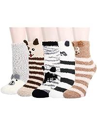 Z-Chen Pack de 5 Pares Calcetines para Dormir Térmicos Calentitos Invierno - Niños Niñas, Talla Única 3-8 Años
