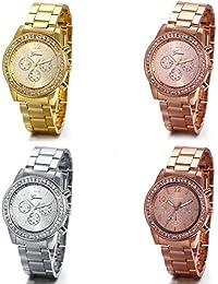 JewelryWe - Reloj de pulsera para mujer (4 unidades, diamantes de imitación, acero inoxidable), color dorado, plateado y oro rosa