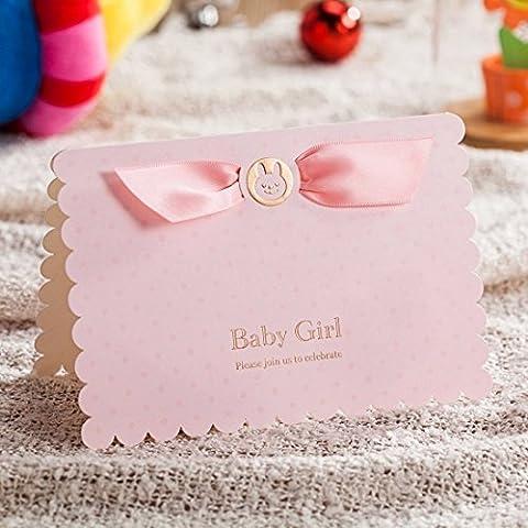 VStoy bautizo días de fiesta tarjetas de invitación Lovely Pink Party Invitaciones para niña bebé ducha con coche de bebé libre rosa sobre y juntas 20piezas