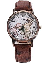 Coxeer Mapa del mundo retro del reloj de señoras del número romano de bronce de cuarzo analógico vestido de la vivienda relojes correa de cuero