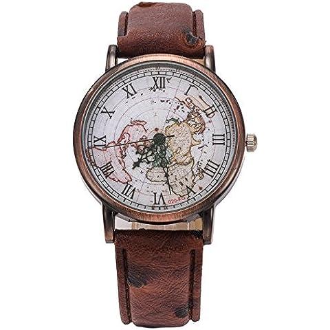 Coxeer® Retro World Map Ladies Watch in numeri romani del bronzo di quarzo vestito alloggiamento analogico orologi cinturino in