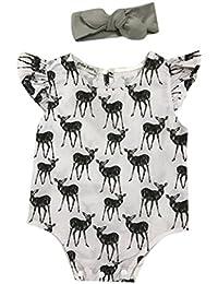 Longra Infant Bébé Fille de bébé Cerfs Communs Combinaison Romper + Bandeau Vêtements Outfit