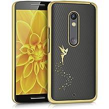 kwmobile Elegante y ligera funda Crystal Case Diseño hada para Motorola Moto X Play en oro transparente