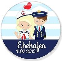 Polarkind maritimer großer Kühlschrankmagnet Ehehafen zur Hochzeit mit Wunschdatum 59mm handmade individualisierbarer Magnet