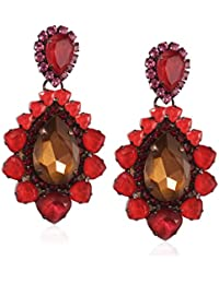 VICKISARGE Adele Pierced Red Pear Earrings of 9cm
