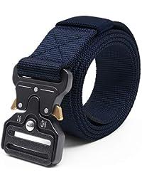 Cinturón Táctico Militar Ajustable Cintura Hombres Lona Nylon Hebilla de  Metal para Entrenamiento de Caza Ejército 761bddda3f2b