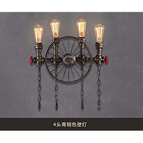 Winson Seppia industriale lampadari di vento Creative di tubi di ferro lampadario ruota ristorante Cafe Studio Arts lampadari Lampada da parete ,4 Bronzo Testa