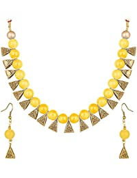 Catalyst Gold Plated Oxidised Polish Metal Yellow Coloured Pearl Jewellery Set For Women/Girls