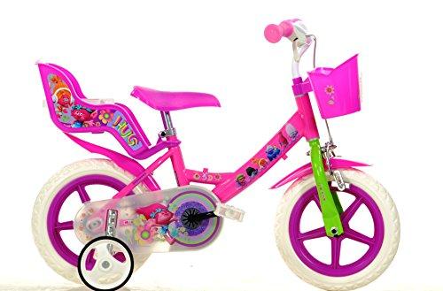 Bicicleta-Chica-12-Pulgadas-Dino-Trolls-Ruedas-Extrables-Cesta-y-Porta-Muecas-Rosa