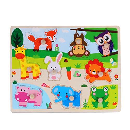 Happy Event Holztier Brief Puzzle | Puzzle Frühes Lernen Pädagogisches Baby Kinder Spielzeug (B) - Mädchen Bun Deckel