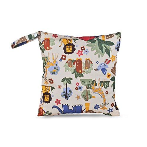 Justmysport Baby Windel Taschen Windelsäckchen Wickeltaschen Nasstaschen für Wickelutensilien Stoffwindeln von Nass- und Trockentuch (Beige Tier Forst)