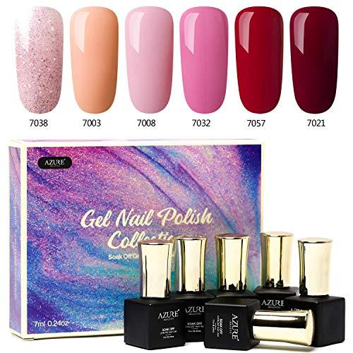 Azure Beauty UV Nagellack, Rot und Rosa Glitzer Farbe, Led Nageldesign Entferner Maniküre Gel Polish 6x7ml