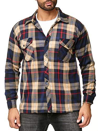 Egomaxx camicia uomo in pile lumberjack a quadretti, colore:bruno, dimensione giacca:m