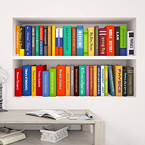 Stickers Etagere - Wallpark 3D Étagère à livres Anglais Cahier