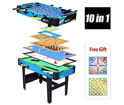 HLC-TABLE MULTI 10 en 1-Billiard/Baby-foot/Hockey/Tennis/Jeu d'échecs/Checker/Backgammon/Poker/Tic-Tac-Toe/Puzzle