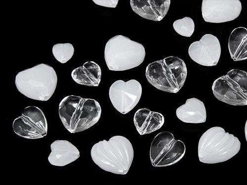 Star Bright Perlen aus Acryl/Kunststoff Herz, 5.0-10.0mm, Crystal/Wihte Opal Multi Form Mix, 100 Stück -
