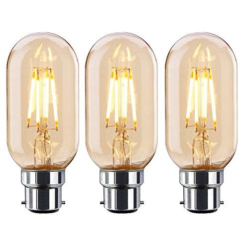 Onepre Pack of 3 BC B22 Bayonet Edison LED Bulbs 4W Antique Tube Filament Edison LED Light Bulbs Warm White 2300K