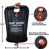 Ailiebhaus Portable 20L PVC Outdoor Camping Solarenergie Shower Bag Solardusche Wasser Beutel (Schwarz) - 4