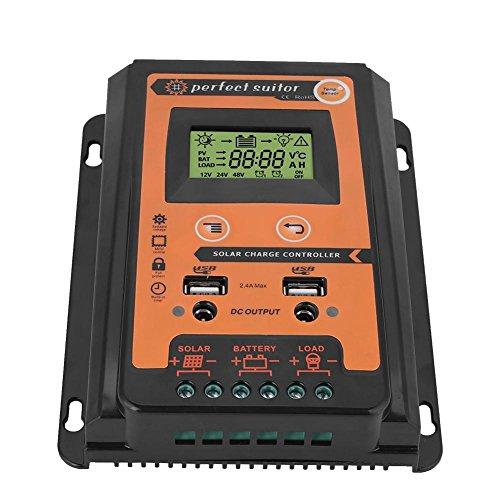 MPPT Solarladeregler - LCD-Display mit Solarpanel-Batterieregler und doppelter USB-Anschlussanzeige für 12 V / 24 V-Sicherheit(30A)