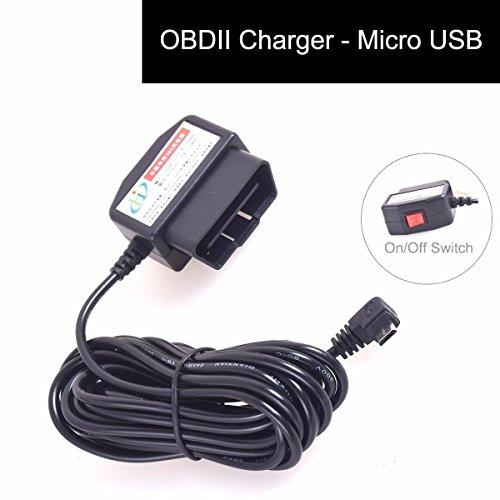 Cocar OBD2 DVR Dashcam Ladekabel Micro USB Adapter mit Schalter DC12-24V zu 5V 16 Pin OBDII Auto/Fahrzeug direkt zur Batterie/Festverkabeltes Kabel Autoladegerät für Handy GPS Tablette - 3M/11.5FT