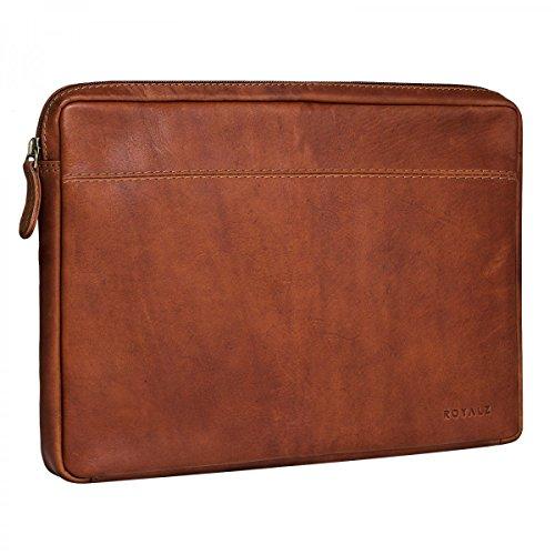 ROYALZ Vintage Ledertasche für Microsoft Surface Book 2/Microsoft Surface Book Tasche Leder (13,5 Zoll) Lederhülle Hülle Schutzhülle Sleeve Etui Retro, Farbe:Cognac Braun
