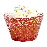 Subfamily - Juego de 24 tazas para hornear Little Vine Lace - Papel artístico para cupcakes, cortado con láser, diseño de encaje
