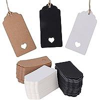 300pcs Etiquetas Papel Kraft Tarjetas Regalo Boda Marrón Blanco Negro (9.5X4.5cm) + 80m Cuerda de Yute para Ropa DIY Bricolaje Manualidades
