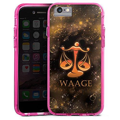 Apple iPhone 8 Bumper Hülle Bumper Case Glitzer Hülle Balance Waage Sternzeichen Bumper Case transparent pink