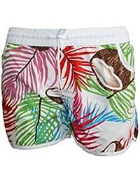 BEACH FLOWER Damen Badeshorts VERSCHIEDENE FARBEN mit Blumen Hawaii Muster, Hot Pants, Hipster Größen M=36 L=38 XL=40