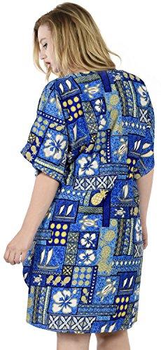 La Leela dames 5 en 1 likre hibiscus caribbean tunique robe top robe de soirée détendu bain ajustement costume maillots de bain couvrent loungewear court occasionnel de nuit bain caftan Ciel Indigo