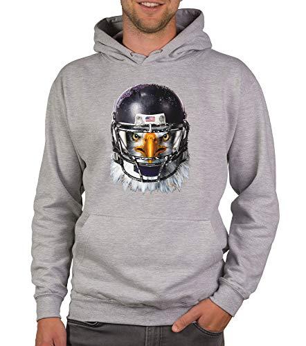 shirtdepartment - Herren Sport Fan-Outfit - Football Eagle - T-Shirt und Hoodie hellgrau-Hoodie 4XL