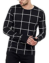 Maniac Men's Fullsleeve Round Neck Checked Thumb Hole Cotton Tshirts - (Black,Grey,Navy,White)