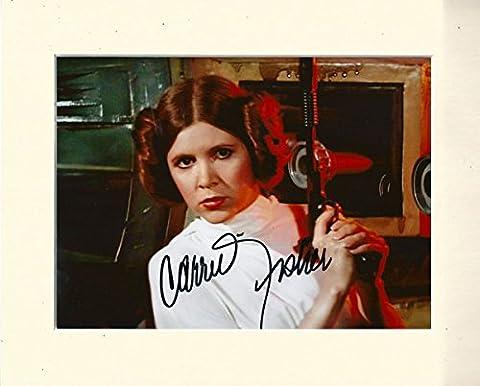Carrie Fisher Princesse Leia Star Wars Signé Autographe Imprimé de 10x 8Support Crème