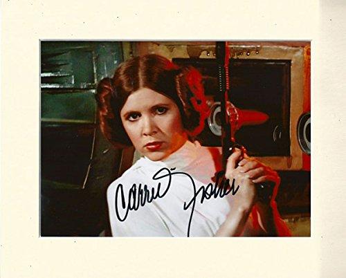Carrie Fisher Prinzessin Leia Star Wars SIGNED Autograph Print in 10x 8, cremefarbenem Passepartout (Für Erwachsenen Slave Prinzessin Kostüm)