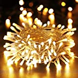 100 LED Lichterkette Außen Batterie, BrizLabs Warmweiß Weihnachtsbeleuchtung Innen 8 Modi Wasserdicht mit Timer für Zimmer Weihnachten Party Hochzeit Beleuchtung Deko, Durchsichtigen Kabeln