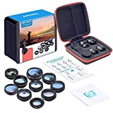 #3: amiciKart apexel 10 in 1 Phone camera Lens Kit Fisheye, Wide Angle, macro Lens, CPL, Filter Kaleidoscope, and 2X telescope Lens with Carry Bag
