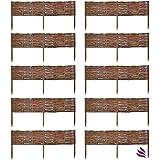 Floranica 10 X Weide Beeteinfassung, Steckzaun in 25 Größen, Rasenkante, Weidenzaun - imprägniert mit Buchepflöcke für Leichtes Einsetzen