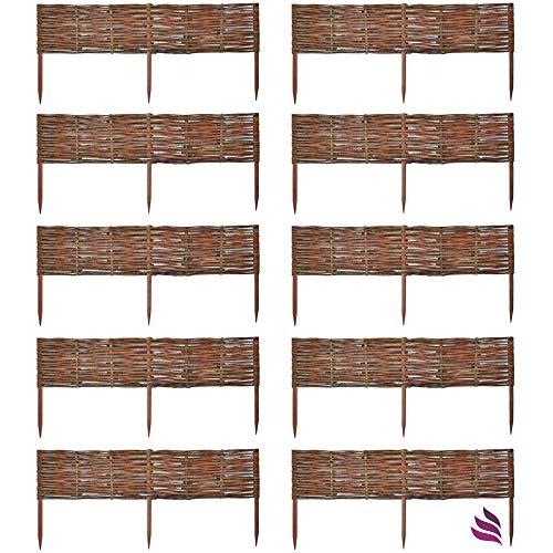 Floranica 10 X Weide Beeteinfassung, Steckzaun in 25 Größen, Rasenkante, Weidenzaun – imprägniert mit Buchepflöcke für Leichtes Einsetzen