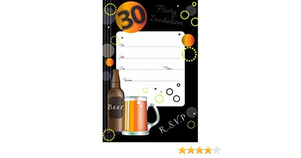 Orange//Beer 30th Birthday Party Invitations Pack of 20 with Envelopes {Hambledon}